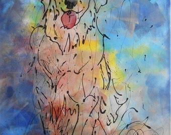 Painting  dog Golden Retriever