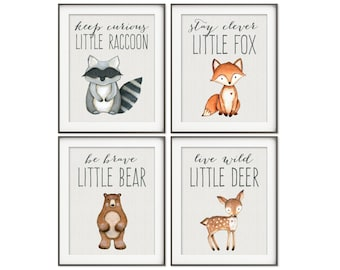 Woodland Decor Prints, Nursery Art, Fox Print, Bear Print, Raccoon Print, Owl Print, Woodland Animals Decor, Woodland Creatures SET OF 4