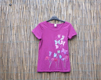 Pink handpainted woman t-shirt with butterflies and flowers