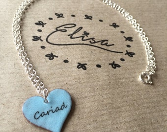 Light Blue Cariad Enamel Heart Necklace