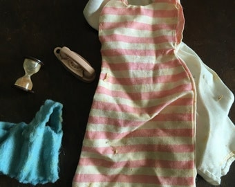 Vintage Barbie Doll Clothing, Phone and Hourglass from the Sixties, Barbie Costume and Accessories