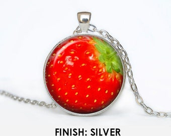STRAWBERRY Necklace, strawberry fruit Jewelry, gift for women handmade, strawberries, strawberry Pendant chain fruit jewelley 050