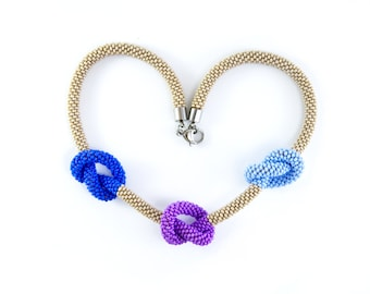 Seed bead crocheted necklace / Beaded rope / Violet and blue choker / OOAK necklace / Necklace with knots / Multicolor necklace