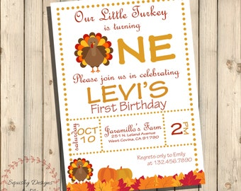 Our Little Turkey Is Turning One Birthday Invitation, Thanksgiving Turkey Birthday Party Invites, Fall Harvest, First Birthday Printable