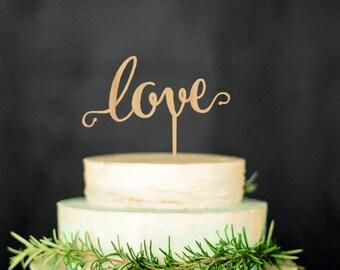 Wedding Cake Topper Love Wood Cake Topper Custom Wedding Topper Gold cake topper Silver cake topper