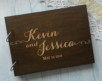 Wedding guest book Wood Guest Book Rustic Guestbook Laser engraved Custom Guest Book WeddingRusticDeco