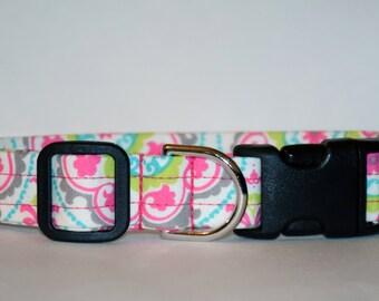 Summer Print Dog Collar – Summer Scroll Dog Collar – Bright Dog Collar –Handmade Fabric Dog Collar