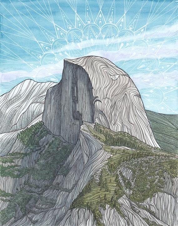 Original Rock Climbing Art Half Dome Yosemite California