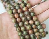 8mm unakite, authentic gemstone, green gemstone, round beads, full strand, boho beads,