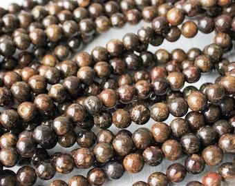 6mm Bronzite, Brown Beads, Bronzite Beads, Gemstone Beads, Brown Gemstone, Brown Round Beads, Dark Brown, Brown Bronzite,Bronzite Gemstones,