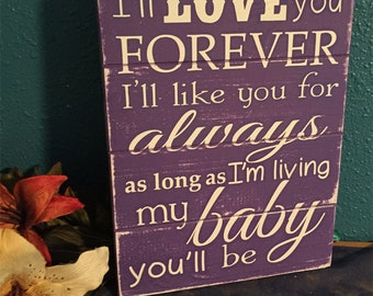 Rustic Love You Forever Sign • Nursery Room Decor • Baby Girl Wall Art • Baby Shower Gift • Shabby chic decor • Kids hanging •purple nursery