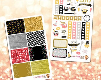 New Year's Eve 2017 Owl Theme Planner Stickers