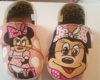 Minnie Mouse hand painted kids slip on shoes