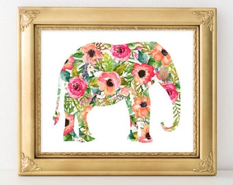 Nursery Printable Art, Elephant printable wall art, Baby Girl Nursery decor, Nursery art, Baby Girl Elephant Nursery Print, gallery wall art