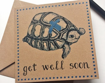 Get Well Soon Card, tortoise with plaster feel better card for sick friend, hospital card for unwell boy or girl, pet tortoise owner card