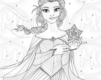 Elsa Frozen Princess Queen Coloring Page Illustration Printable Instant