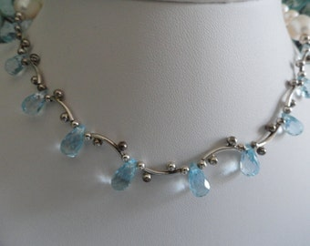 Blue Topaz and Pearl beaded necklace   -   #432