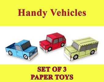 Handy Vehicles Paper Toy Car Models Set of 3