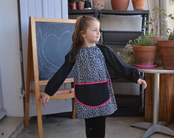 Manches longues 6-8 ans bleu noir Leopard imprimer Art blouse tablier 100 % coton rose vif Tablier Enfants Maternelle Fille de finition de peinture