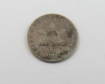U.S. 1852 Silver 3 Cent Coin Type 1.