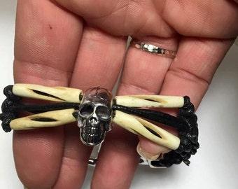 Handmade Skull and Crossbones Leather and Bovine Bone Shackle Bracelet Jewelry