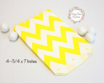Yellow Chevron Favor Bags, 4--3/4 by 7 Inches, 12 Bags, Yellow Favor Bags, Chevron Favor Bags, Yellow Paper Bags, Yellow Wedding, Treat Bags