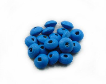 10mm Blue Rondelle Wood Beads, 10mm Rondelle Wood Beads, Rondelle Wood Beads, Wood Beads, 20pcs Rondelle Wooden Beads, Jewelry Making