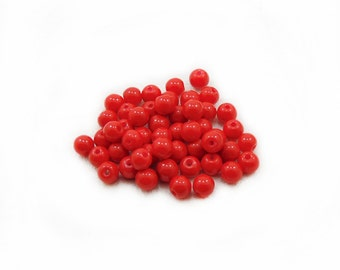 6mm Red Glass Beads, Red Glass Beads, Glass Beads, Red Beads, Jewelry Making, Craft Supplies, 40pcs Red Glass Beads