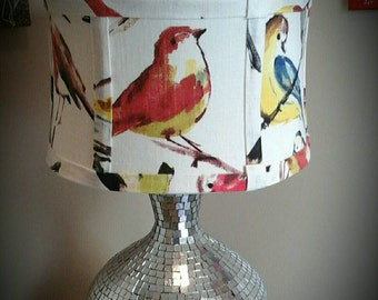 Sale Bird lamp shade: Richloom Birdwatcher Summer fabri drum lamp shade US SHIPPING INCLUDED