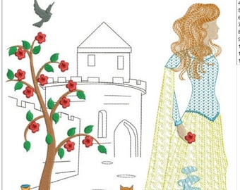 """Beautiful princess in castle machine embroidery download 4 different sizes( 8X9 """"7X8"""" 6X6  5X5 hoop)"""