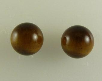 Tiger Eye 12.05mm Stud Earrings 14k Yellow Gold Post & Push Backs