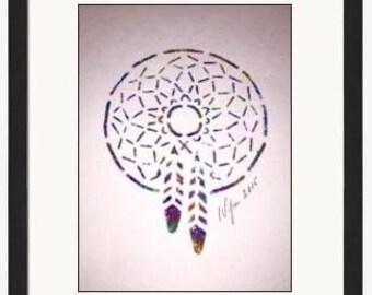 Hand Painted Cherokee Indian Dream Catcher 5X7