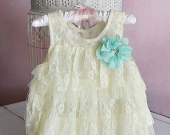 Pale Yellow Lace Baby Dress SET, Flower Girl Dress, Chiffon Lace Dress, Baby Girl Dress for Wedding, Toddler Dress and Headband