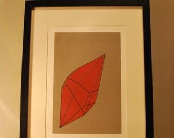 UO #3 - An original abstract handmade screen print. A geometric shape with bold colours.