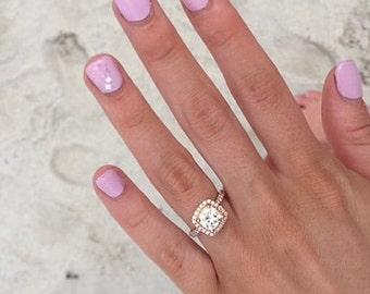 Rose Gold Engagement Ring, Cushion Engagement Ring, Dainty Moissanite Engagement Ring, Halo Diamond Engagement Ring