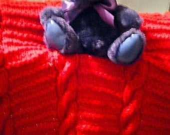 Cheery Cherry Red  Hand-Knitted Cables and Garter Baby Afghan, Baby Blanket or Lap Blanket made with Worsted  Weight Yarn