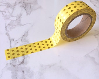 Yellow & Gold Foil Spot Washi Tape // Decorative Paper Masking Drafter Planner Scrapbooking Tape