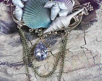 Merqueen mermaid grand seashell hair clip, hair jewelry, fantasy mermaid hair clip
