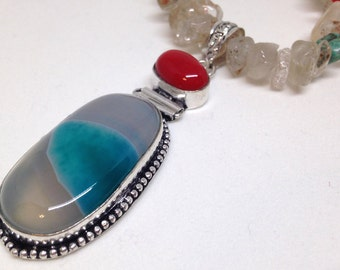 Agate necklace with coral and mixed-stone beads