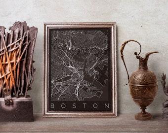 Boston Map Print - Map of Boston, MA - Map ART - Boston Poster - Office Decor - Scandinavian Art - Travel Map - Travel Poster