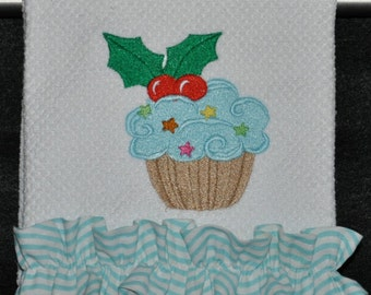 "Embroidered Dish Towel ""Christmas Holly Cupcake"""