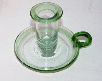 Green Glass Candlestick - 702