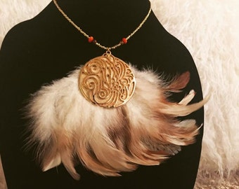 Necklace -Gold Pendant Fanned Feather. Glass Beads, Tigers Eye, Suede, Native American, Tribal