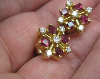 Vintage gold ruby and diamond earrings