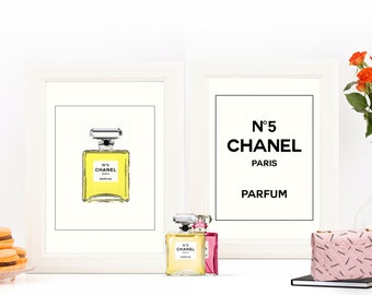LOWEST PRICE on Etsy!  2 Chanel Fashion Prints featuring original artwork of Chanel No5 Perfume Bottle & Chanel Logo | Printable Art |