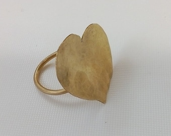 brass ring, silver ring, heart hammered ring
