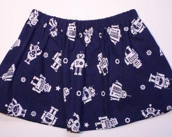 Bee-Boop! Twirl Skirt (Girls' elastic waist skirt with robots)