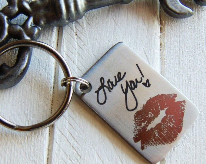 Your Actual Kiss Imprint Key Chain- Add Your Handwriting, or Font Text Option- Laser Engraved, Color Marking Kiss Imprint Included <NEW!!!