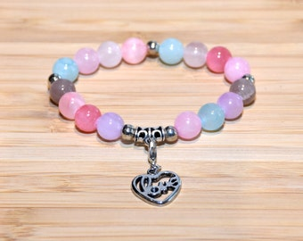 Love Passion Romance Pink Purple Turquoise Brown Glass Beads Beaded Bracelet Heart Love Charm Silver Stretch Bead Bracelet