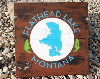 Rustic Flathead Lake Montana Hand Painted Sign wall artwork